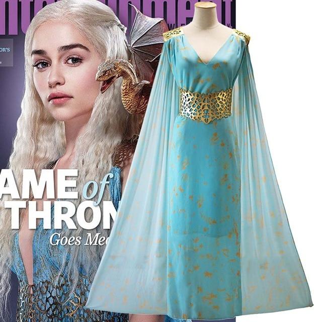 Game of Thrones Daenerys Targaryen Cosplay Costume Deluxe Blue Chiffon  Qarth Dress Long Gown Halloween Costume