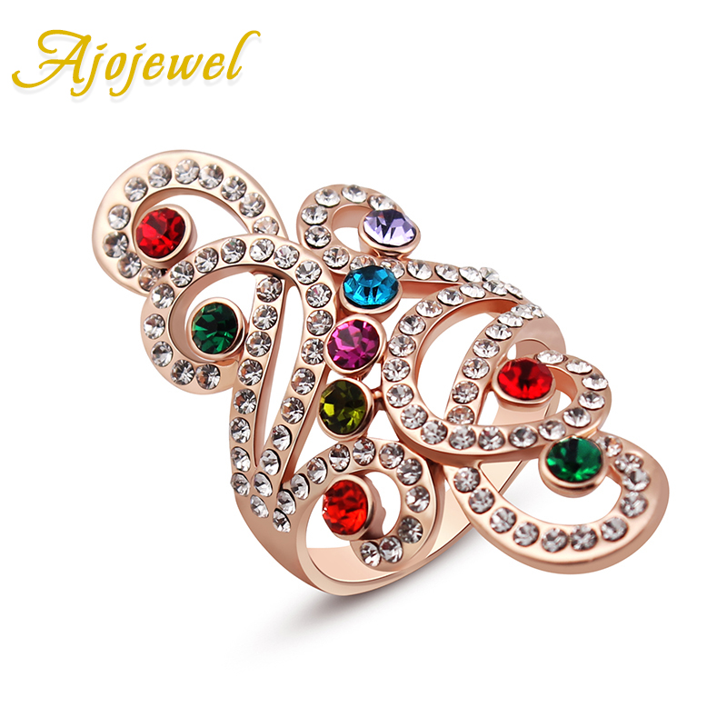 Ajojewel Bling Big Rings For Women Hollow Out Designer Rhinestone Ring Multicolor Crystal Jewelry Fashion Accessories