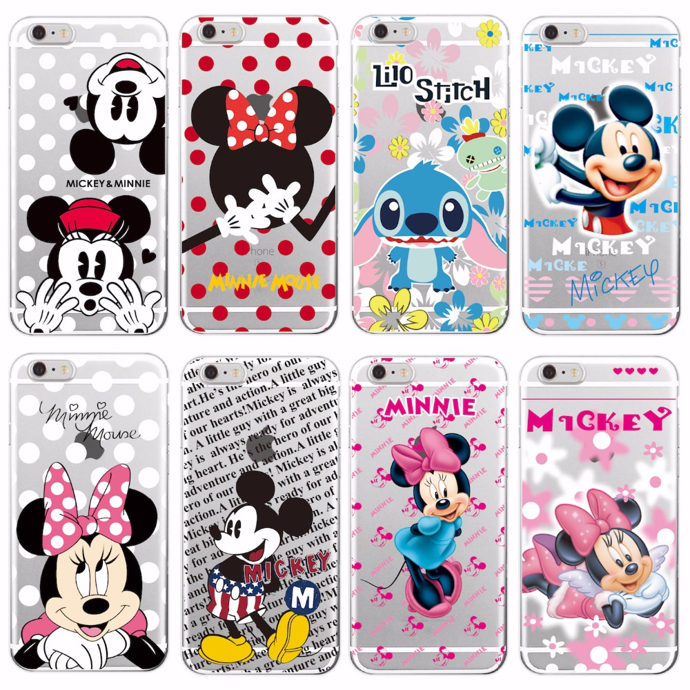 For iPhone6 6Plus 7 7Plus 8 8Plus X Samsung Minnie Mickey Cartoon Stitch Piglet Daisy Pooh Bear Characters Soft Phone case Cover