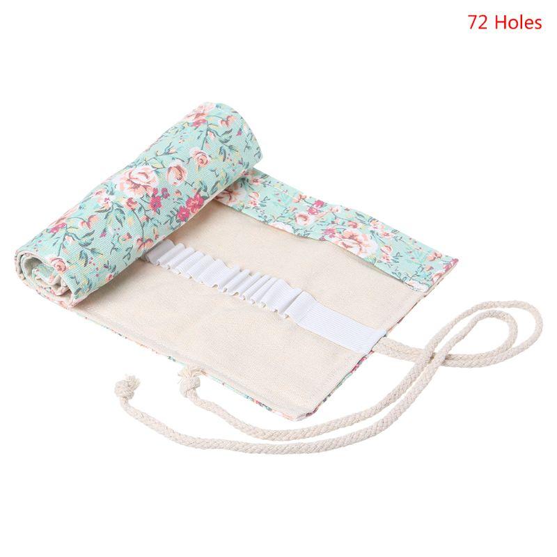 Floral Print 12/24/36/48/72 Holes Canvas Roll Up Makeup Pencil Bag Wrap Curtain Pen Case Holder Storage Pouch