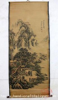 Antique QingDynasty Hand-painted Chinese calligraphy painting--historical story,decoration murals,crafts /collection & adornment