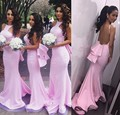 2015 Long Pink Peach Color Bridesmaid Dress Sexy Backless Mermaid Wedding Guest Party Maid of Honor Gowns vestido para casamento