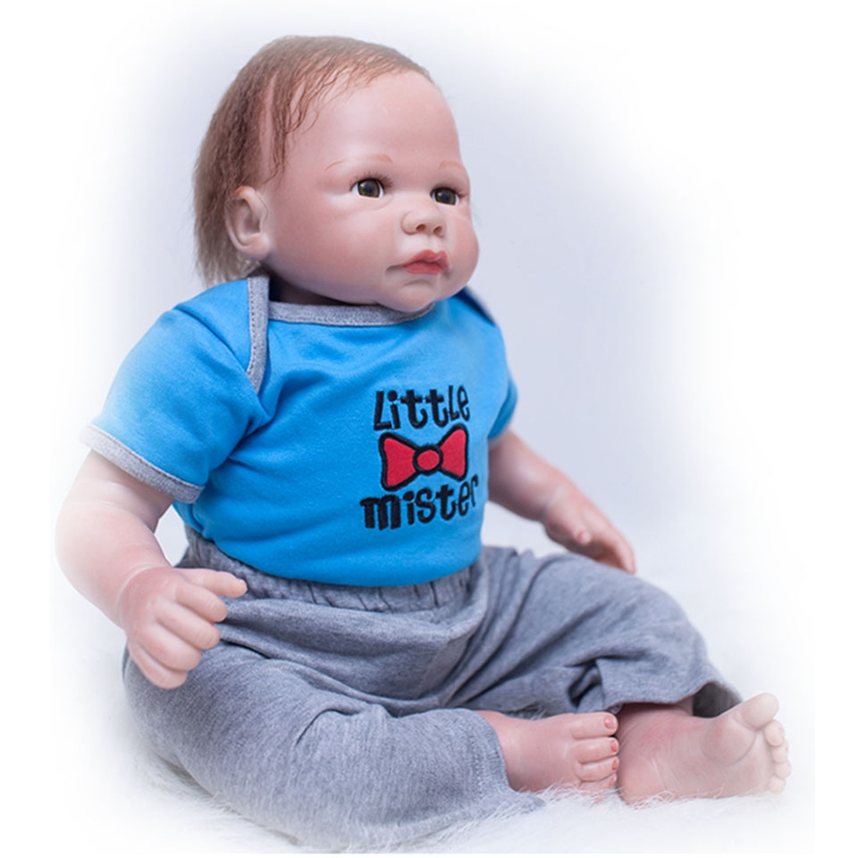 20 inch Soft Silicone Realistic Dolls Reborn Baby Toy 50 cm Cloth Body So Truly Newborn Baby Dolls Wear Clothes Kits Xmas Gift