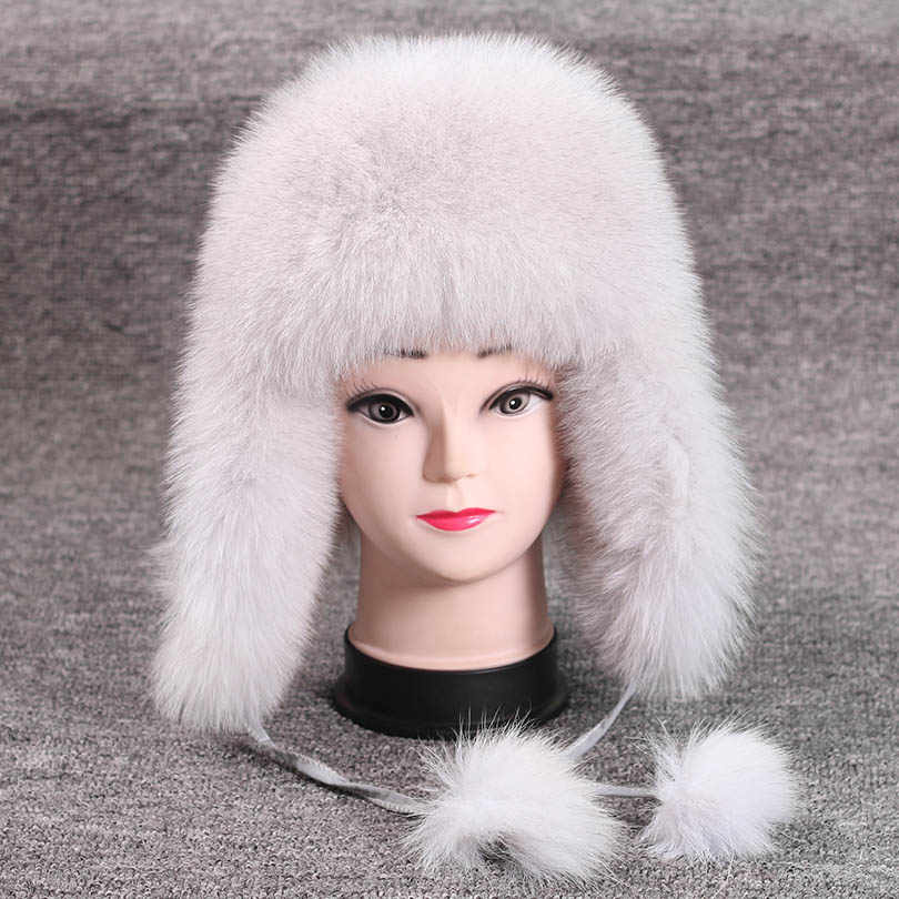 ae9c8463839b6 ... mOn Sale 100% Real Fox fur Women s Russian Ushanka Aviator trapper snow  skiing Hat caps ...