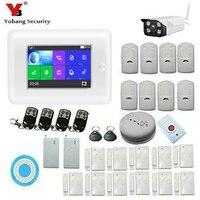 Yobang безопасности 4,3 дюйма Сенсорный экран Беспроводной Wi Fi приложение Управление GSM SMS охранной сигнализации Системы SOS дым огонь Открытый IP