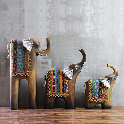 Resin Elegant Abstract Elephant Sculpture Large Lucky Thai Feng Shui Imitation Wood Figurines Ornaments Home