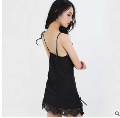 NEW 2016Summer Femal high quality Short Sexy Lace Nightdress Sleeveless Nightgown women Strap Deep V-neck slik Nightgowns