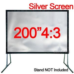 200 дюймов 4:3 большой размер 3D ПВХ Серебряный передний проекционный экран ткань без рамки для любых проекторов открытый фильмы дисплей