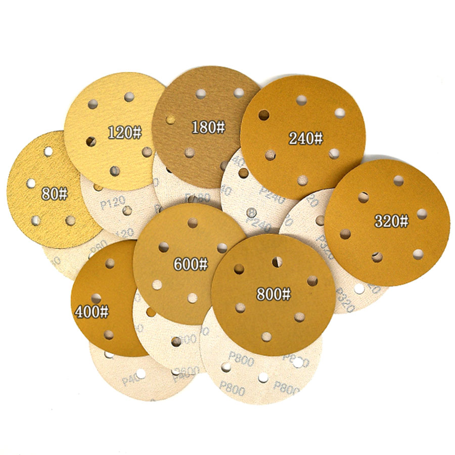 5-100Pcs Flocking Yellow Sandpaper Disc 5 Inch 6 Hole Self-adhesive For Polishing Abrasive Tools Electric Grinder Accessories
