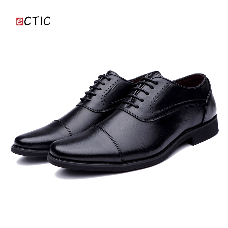 Ectic Basic Men Oxfords, Genuine Cow Leather Lace Up Shoes Wedding Dating Formal Dress Flats Vintage Classical Dropshipping