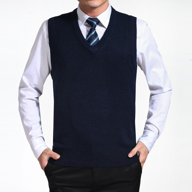 2018 New Arrival Casual Solid Color Sweater Vest Men Cashmere Sweaters Wool Pullover Mens Fashion Vest Big Size 3XL