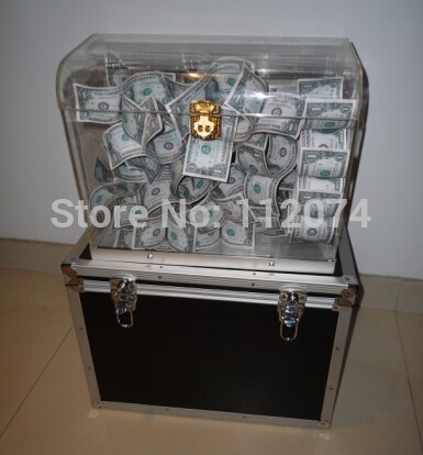 Crystal Money Chest,empty box appearing money - magic Trick, box magic,props,comedy,mental magic