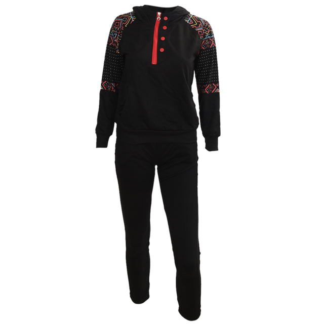 2PCS Women Jacket Sweat Pants Suit Sexy Set Track Suit Hoodies 1