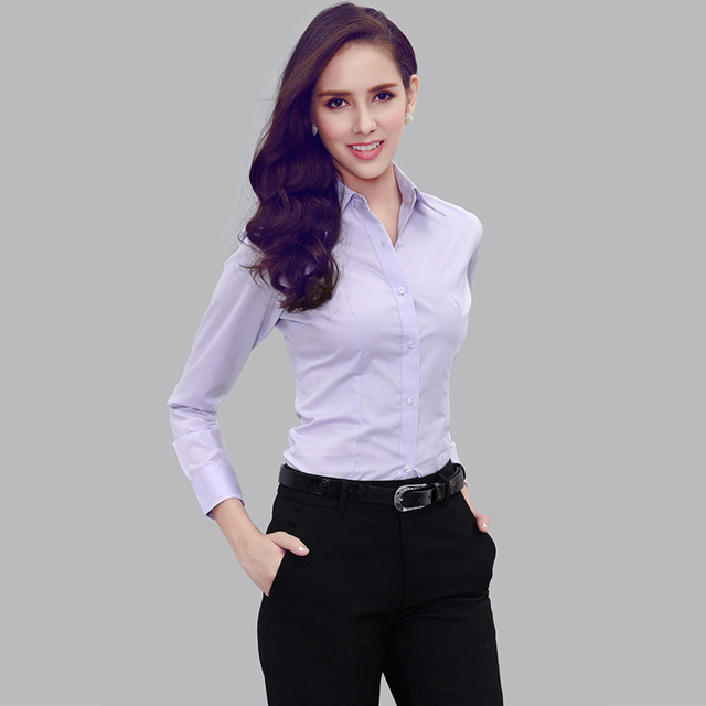 ba032291 2015 Autumn New Solid Color Women Office Shirts Ladies OL Basic Top Blusas  Blouse Shirt Professional Occupation H17