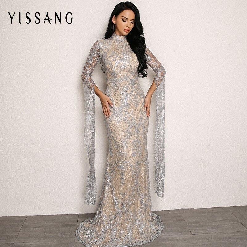 Detail Feedback Questions about Yissang Autumn Elegant Sliver Green Women Dress  Sequin 2018 Sexy Summer High Waist Dresses Maxi Long Night Party Woman Dress  ... ffb092b8b635