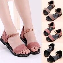 Metal Roman Sandals Girls 2018 New Summer Girls Shoes Children's Beach Sandals Korean Baby Shoes