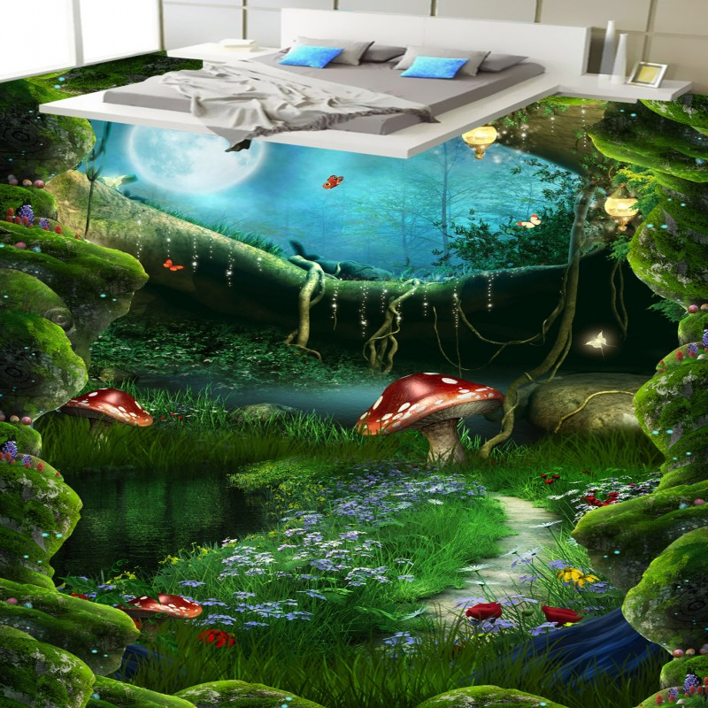 Free shipping floor custom living room self-adhesive photo Forest path Bathroom kitchen bedroom 3D flooring wallpaper flowers