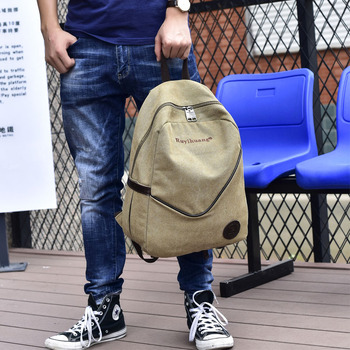 2019 new color Han edition tide men shoulder bag canvas bag students travel bag backpack backpack female