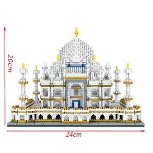 Image 2 - Mimari blok seti merkezi Taj Mahal Palace modeli yapı taşları çocuk oyuncakları eğitici 3D tuğla çocuklar hediyeler