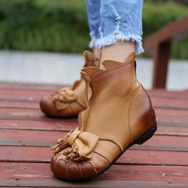 Chegada nova mulheres sapatos de couro genuíno tendência nacional botas de inverno feminino além de veludo rodada botas toe tornozelo