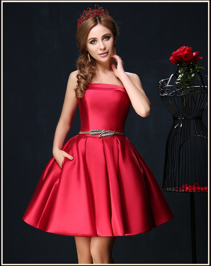 Elegant Sexy Sash Red   Cocktail     Dresses   Short Prom   Dress   Satin Cheap 8th Grade Graduation   Dresses   Homecoming Party Gowns 2019