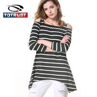 TOTRUST Long Striped T Shirt Women 2017 Autumn Elegant Ladies Tees Tops Off Shoulder T Shirt