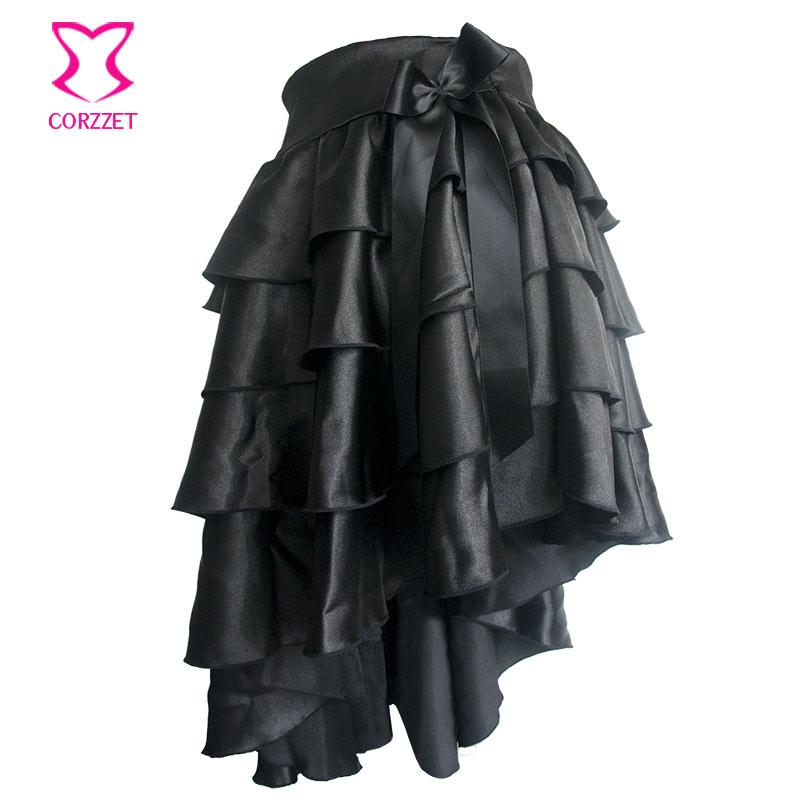 Juodos spalvos ruffle satino pakopos asimetriška Saia Viktorijos - Moteriški drabužiai