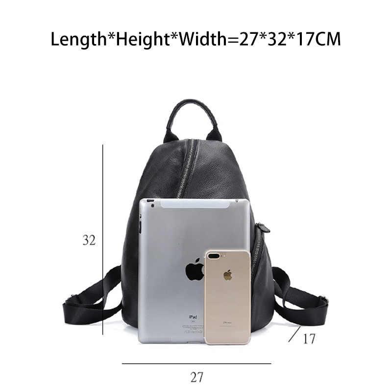 Zency 100%, повседневный рюкзак из натуральной кожи для женщин, классический черный школьный рюкзак для студентов, винтажный женский рюкзак высокого качества