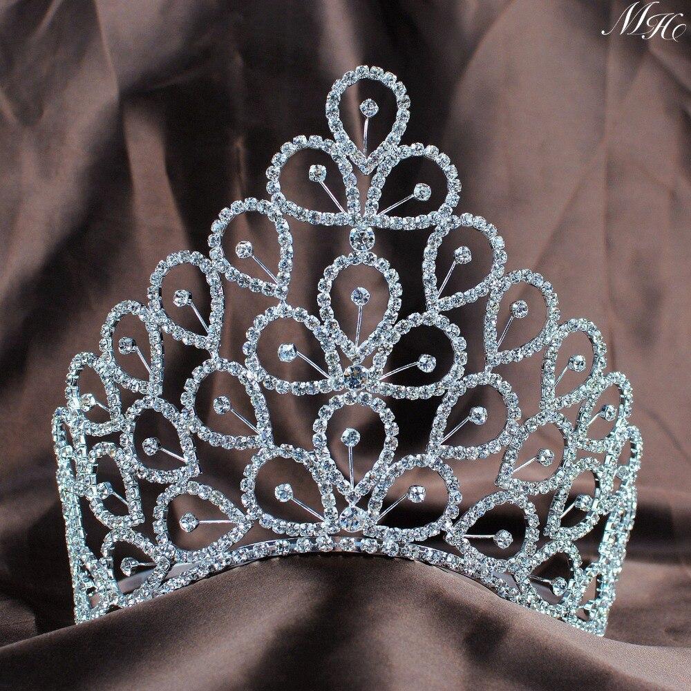 Bridal jewelry tiara - Flowers Handmade Crown 6 Floral Flower Tiaras Clear Crystal Austrian Rhinestones Wedding Bridal Pageant Party Hair Jewelry