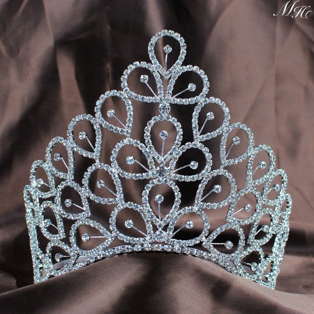 "Large Handmade Miss Crown 6"" Floral Tiaras Crystal Austrian Rhinestones Wedding Bridal Pageant Hair Accessories Adjustable Round"