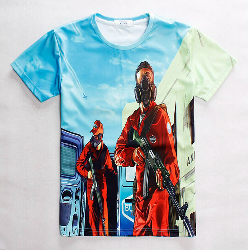 Drop shipping adolescent 3d Grand Theft Auto game gta 4 5 print t shirt for font