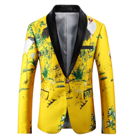 2018 Men Yellow Printed Blazer Embroidery Slim Fit Big Size 4XL 5XL Mens Stage Wear Prom Casual Suit Jacket Nightclub Clothes