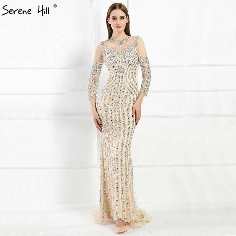 8247168e2 € 182.93 42% de réduction|Luxe manches longues Sexy diamant pailleté sirène  robes de soirée robe de soirée brillant 2019 Photo réelle LA6591 ...