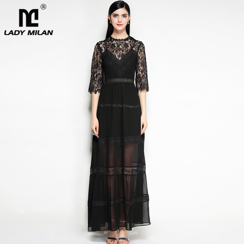 Lady Milan 2018 Womens O Neck Long Sleeves Embroidery Lace Patchwork Tiered Sexy Party Porm Maxi Designer Dresses