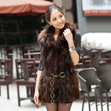 2016 women real natural raccoon fur vest sleeveless waistcoat middle long jacket winter warm coat free shipping genuine CW2331