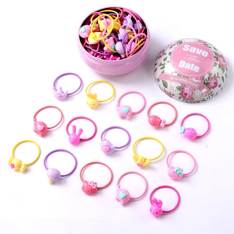 New 30Pcs/lot Fashion Headband Flower Bow Cartoon Children Hair Accessories Elastic Bands Baby Girl Gift Sweet Pink Box Hairband free shipping 2 colors newborn kid girl elastic flower headband hairband hair accessories