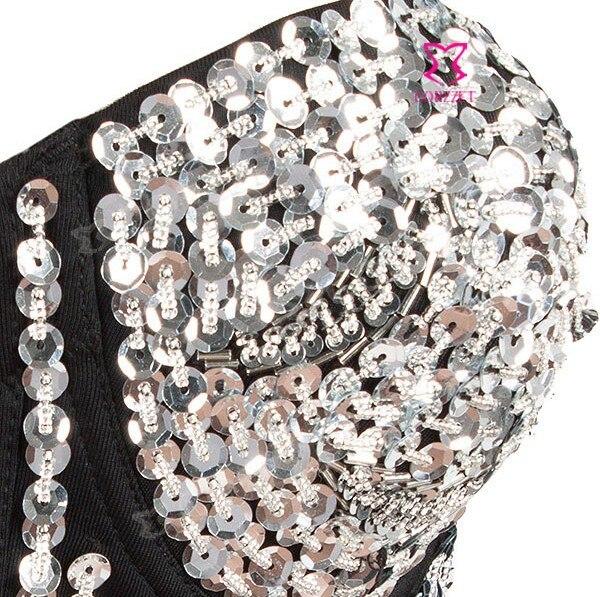 0bc7287ee62cd Hot Sale Brand Fashion Girl Women Spikes Push Up Strapless Bra Top Silver  Sequins Black Sexy Bralet Brassiere Underwear Clubwear-in Bras from  Underwear ...