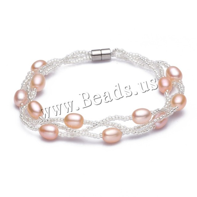 Freshwater Cultured Pearl Bracelet australian Freshwater Pearl with Glass Seed beads magnetite clasp