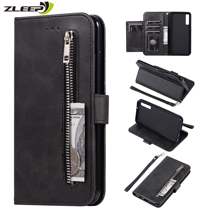 Leather Zipper <font><b>Flip</b></font> Cover A70 A50 A40 A30 A20 A2 Core Wallet <font><b>Case</b></font> For Samaung <font><b>Galaxy</b></font> M30 A5 <font><b>A6</b></font> Plus A7 A8 <font><b>2018</b></font> Stand Phone Coque image