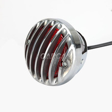 free shipping Chrome Motorcycle Ribbed Round Tail Brake Light For Harley Kawasaki Suzuki Yamaha Victory Honda ... high quality chrome head light cover for honda civic 2012 free shipping