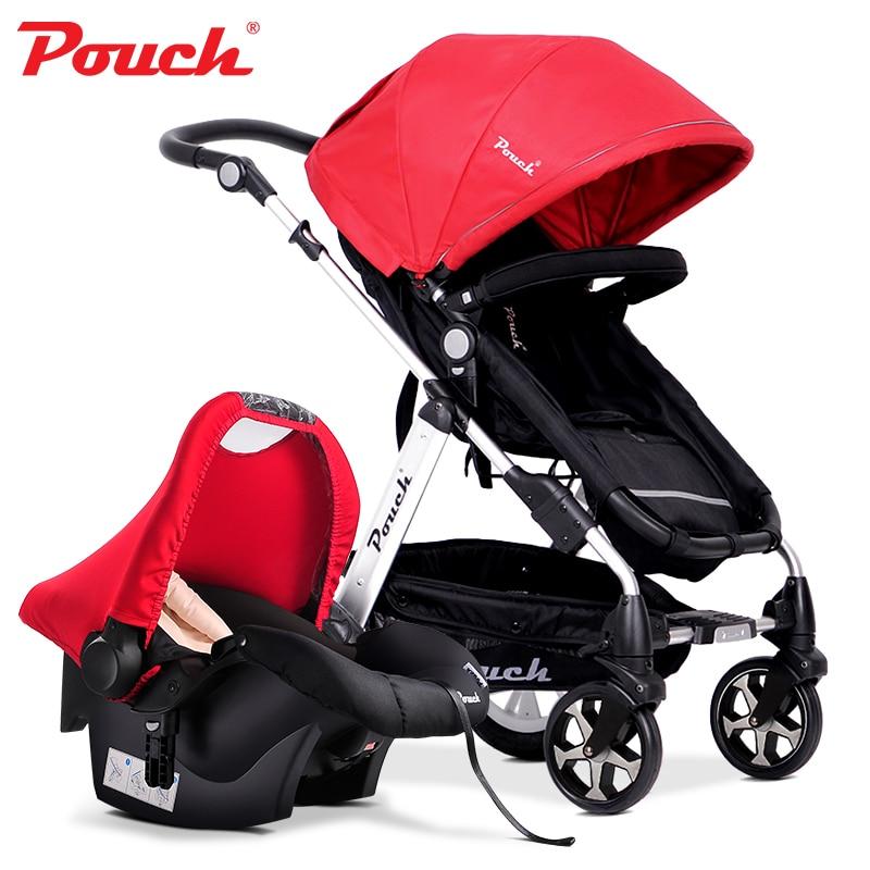 2016 Fashion 2 in 1 Baby Strollers (Pushchair + Car Seat) High Landscape Bidirectional Pram/ Buggies for 0-36 Months Kids