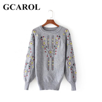GCAROL Women Autumn Winter Embroidered Floral Sweater O Neck Full Sleeve Stretch Slim Knitted Pullover Knitwear