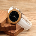 BOBOBIRD J03 Classic Bamboo& Steel Women Watches Relojes Simple Black Dial White Leather Band Quartz Wristwatch horloges vrouwen