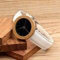 J03 BOBOBIRD Clássico Bamboo & Aço Mulheres Relógios Relojes Simple Black Dial Pulseira de Couro Branco relógio de Pulso de Quartzo horloges vrouwen