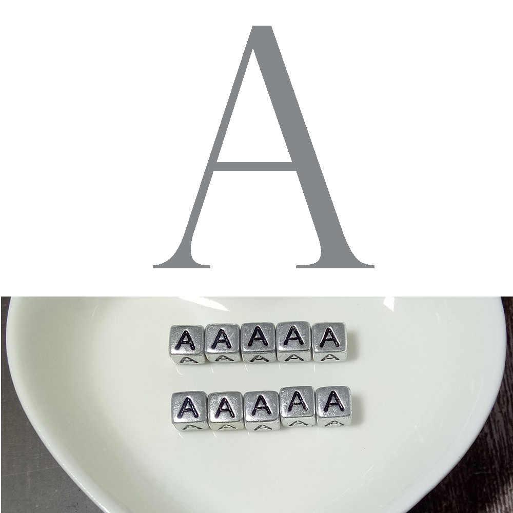 10 個 6 ミリメートル英語手紙ビーズ正方形アルファベットシルバービーズ DIY ブレスレットネックレスアクセサリー