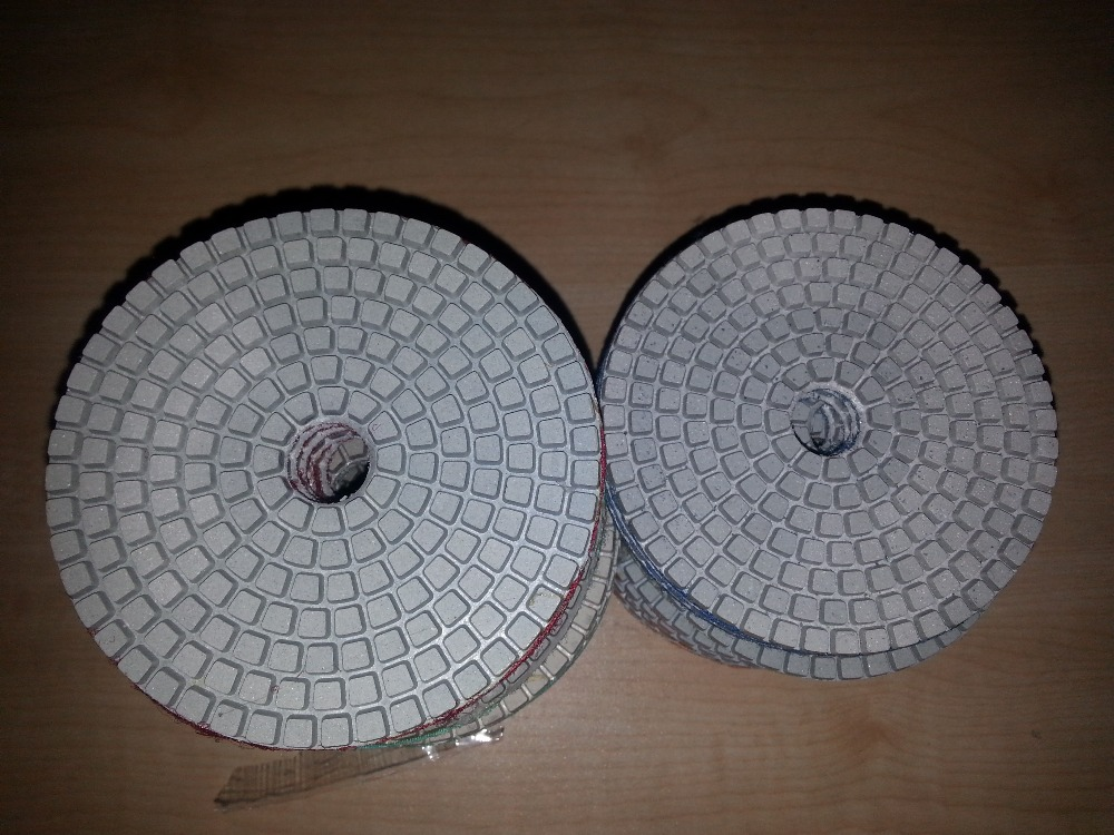 Wet Diamond Polishing Pads 7 Inch 180mm A Set For Granite Concrete Marble 7PCS