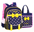 Cute bow Children School Bags For Girls Waterproof printing Backpack Kids book bag Satchel Child Schoolbag set rucksack mochila