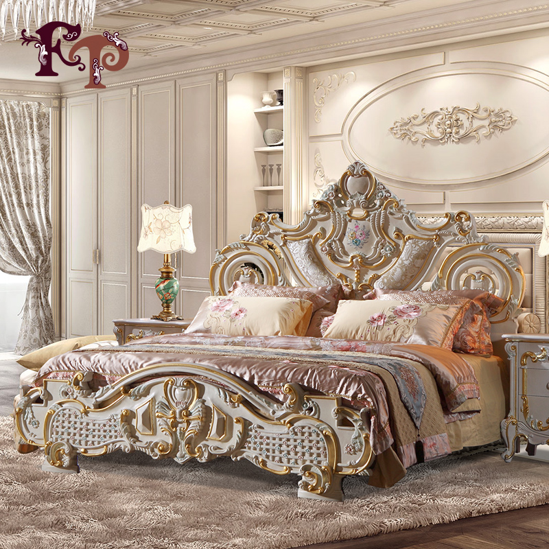 2016 Hot selling king size bed for hotel and restaurant – solid wood baroque leaf gilding bed queen size bed