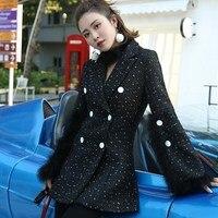 2017 Fashion Streetwear Split Button Fur Sleeve Tweed Coat Office Lady Double Breasted Coat