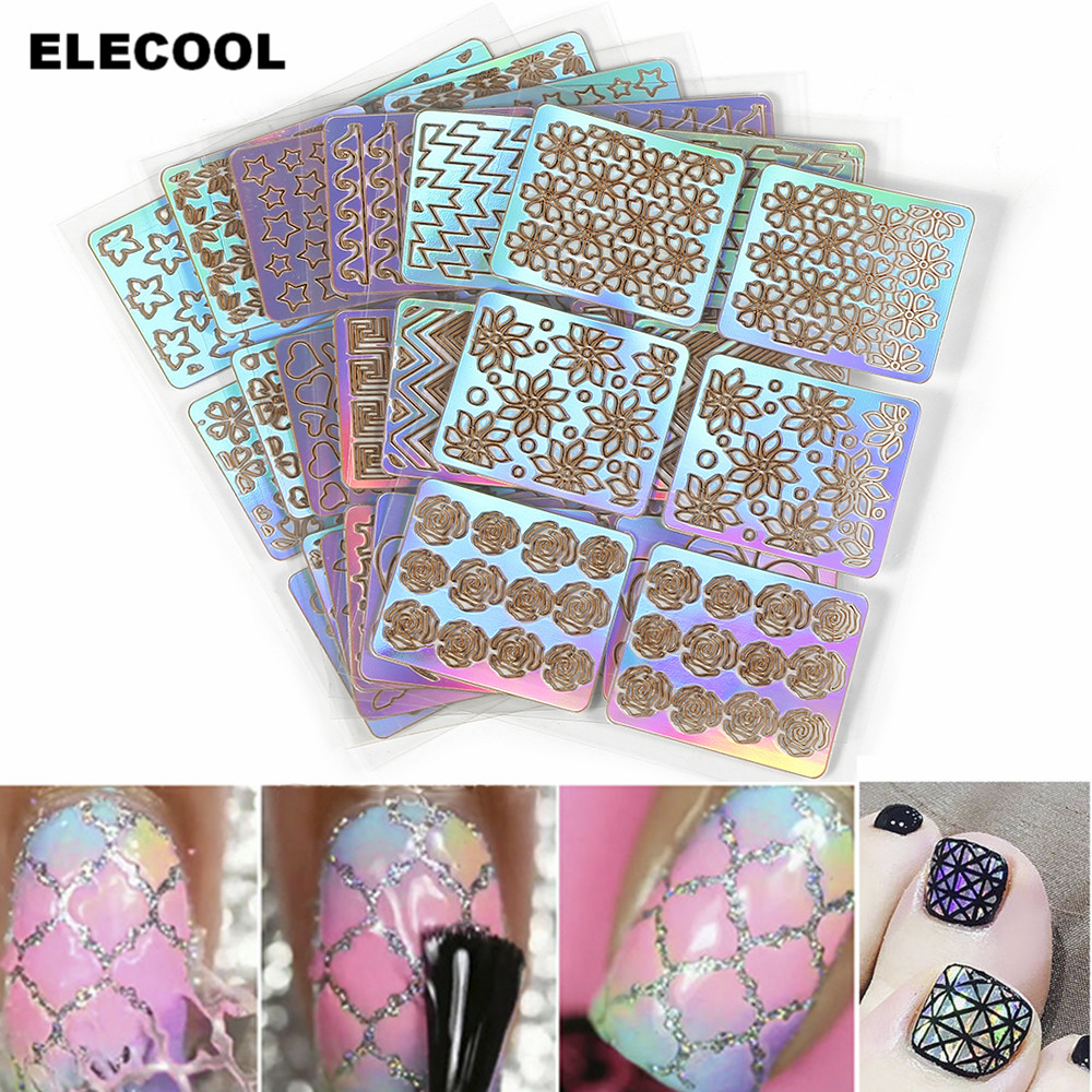 ELECOOL 6 Sheets Colourful Mixed 3D Design Nail Art Hollow Stickers Stencil Tip Template DIY Manicure Decals Decoration 06 39 mixed styles nails tips polish printing beauty decals multipurpose nail art hollow template stickers makeup stencil tool